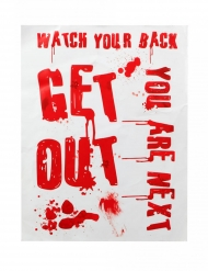 "Cartel ""GET OUT"" ensangrentado 42 x 19 cm"