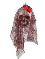 Decoración para colgar calavera novia 15 x 30 cm