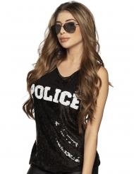 Camiseta policía lentejuelas negras mujer