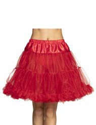 Falda enagua semi larga rojo mujer