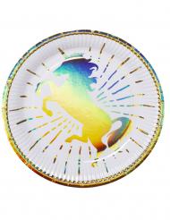 6 Platos de cartón unicornio holo 23 cm