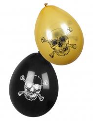 6 Globos Pirata Jolly Roger negro dorado 25 cm