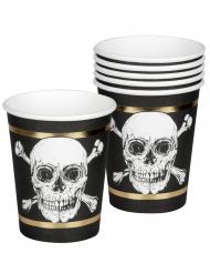 6 Vasos de cartón Pirate Jolly Roger 25 cl