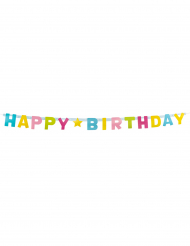 Guirlanda letras Happy Birthday en cartón 150 cm