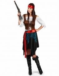 Disfraz pirata rayado azul y negro mujer talla grande