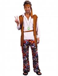 Disfraz hippie marrón y blanco hombre talla grande