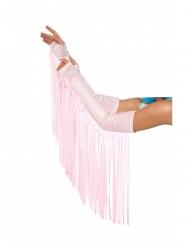 Mangas con flecos rosa palo adulto