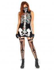 Disfraz vestido ligueros Día de los muertos mujer