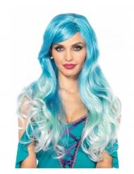 Peluca lujo azul sirena mujer