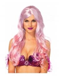 Peluca lujo rosa sirena mujer