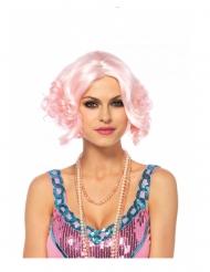 Peluca lujo corta rosa mujer