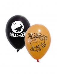 10 Globos látex negros y naranjas Halloween 30 cm
