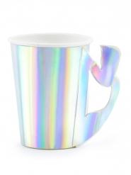6 Vasos de cartón sirena holográfica 220 ml