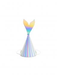 8 Gorros de fiesta cola de sirena holográfica 8 x 18 cm
