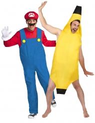 Disfraz de pareja Mario™ y plátano adulto