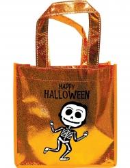 Bolsa naranja con brillantes esqueleto