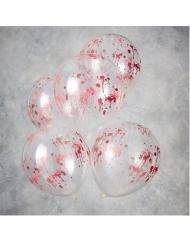 5 Globos de transparentes manchas de sangre 30 cm