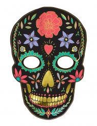 Máscara de cartón Día de los muertos negro 19 x 28 cm