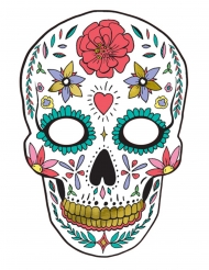 Máscara de cartón blanco Día de los muertos 19 x 28 cm