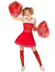 Disfraz animadora USA rojo mujer