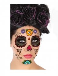 Tatuaje rostro Día de los muertos multicolor