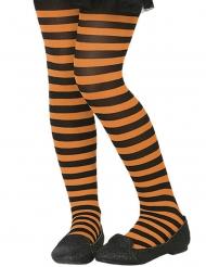 Pantys rayas naranja y negro niña