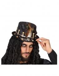 Sombreo vudú negro adulto