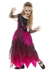 Disfraz reina del baile gótico rosa niña