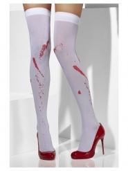 Medias opacas blancas con manchas de sangre mujer