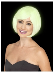Peluca corta cuadrada blanca fosforito mujer