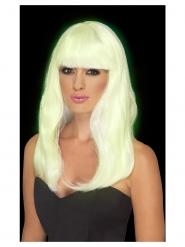 Peluca larga blanco fosforito mujer
