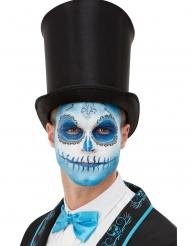Kit maquillaje y tatuaje Día de los muertos azul adulto