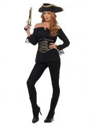 Camisa pirata negra lujo mujer