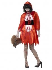 Disfraz caperucita roja satín zombie mujer