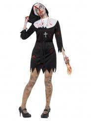 Disfraz monja zombie negro mujer