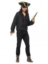 Camisa pirata negra lujo para hombre