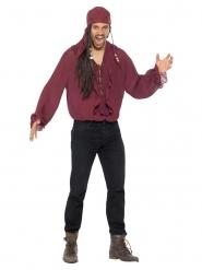 Camisa pirata bordeos lujo hombre