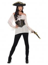 Camisa pirata beige lujo mujer