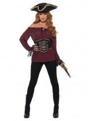 Camisa pirata bordeos lujo mujer