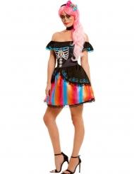 Disfraz multicolor Día de los muertos mujer