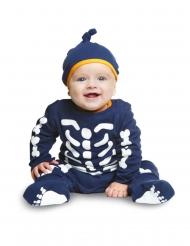 Disfraz mono esqueleto pequeño azul bebé