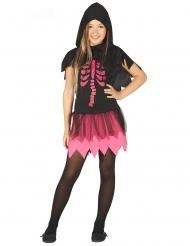 Disfraz vestido esqueleto negro y fucsia niña