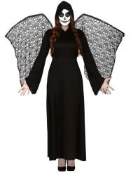 Disfraz ángel de la muerte alas encaje mujer
