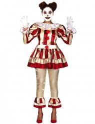 Disfraz payaso escalofriante rojo y blanco mujer