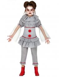Disfraz payaso asesino gris niña