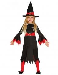 Disfraz bruja con sombrero negro y rojo niña