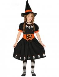 Disfraz linda brujita con sombrero negro y naranja niña
