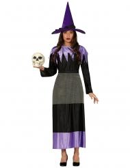 Disfraz de bruja con sombrero negro y lila mujer
