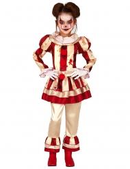 Disfraz payaso de terror rojo y blanco niña