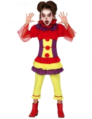 Disfraz payaso maléfico multicolor niña